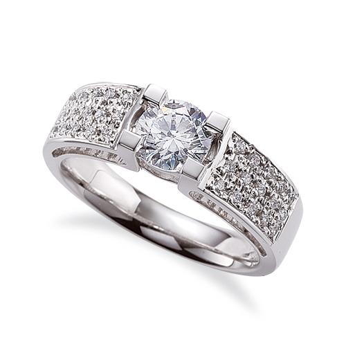 指輪 18金 ホワイトゴールド 天然石 スクウェア型のサイドパヴェリング 主石の直径約4.4mm 四本爪留め K18WG 18k 貴金属 ジュエリー レディース メンズ