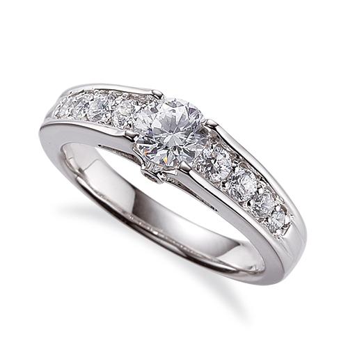 指輪 18金 ホワイトゴールド 天然石 側面に一粒メレ付きサイド一文字リング 主石の直径約3.8mm 四本爪留め|K18WG 18k 貴金属 ジュエリー レディース メンズ