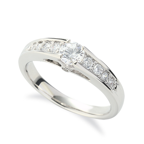 指輪 18金 ホワイトゴールド 天然石 側面に一粒メレ付きサイド一文字リング 主石の直径約4.4mm 四本爪留め|K18WG 18k 貴金属 ジュエリー レディース メンズ