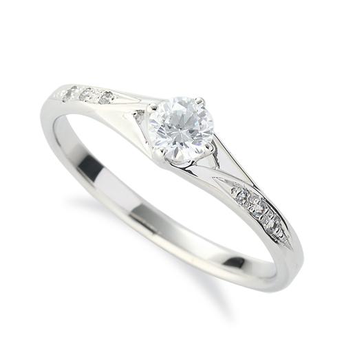 指輪 18金 ホワイトゴールド 天然石 サイドストーンリング 主石の直径約3.8mm 割り腕 四本爪留め K18WG 18k 貴金属 ジュエリー レディース メンズ