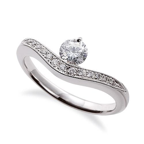指輪 18金 ホワイトゴールド 天然石 メレ周りミル打ちのサイド一文字リング 主石の直径約3.8mm V字 K18WG 18k 貴金属 ジュエリー レディース メンズ