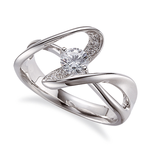 指輪 18金 ホワイトゴールド 天然石 腕のラインがスタイリッシュなサイドストーンリング 主石の直径約4.4mm ウェーブ 割り腕 二本爪留め|K18WG 18k 貴金属 ジュエリー レディース メンズ