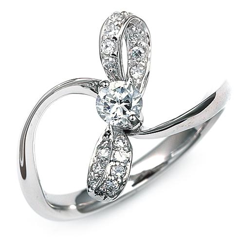 指輪 18金 ホワイトゴールド 天然石 リボンモチーフのサイドストーンリング 主石の直径約4.4mm ウェーブ 二本爪留め|K18WG 18k 貴金属 ジュエリー レディース メンズ