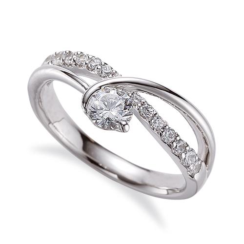 指輪 18金 ホワイトゴールド 天然石 メレがラインになったサイドストーンリング 主石の直径約3.8mm V字 割り腕 レール留め|K18WG 18k 貴金属 ジュエリー レディース メンズ
