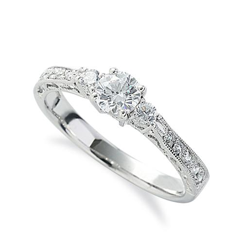 指輪 18金 ホワイトゴールド 天然石 側面透かしサイドストーンリング 主石の直径約4.4mm 四本爪留め K18WG 18k 貴金属 ジュエリー レディース メンズ