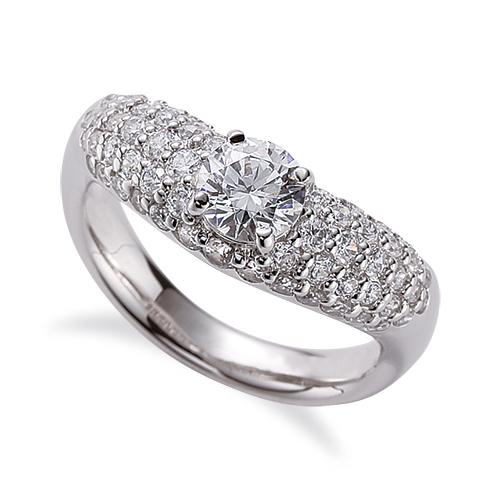 指輪 18金 ホワイトゴールド 天然石 サイドパヴェリング 主石の直径約5.2mm V字 四本爪留め K18WG 18k 貴金属 ジュエリー レディース メンズ