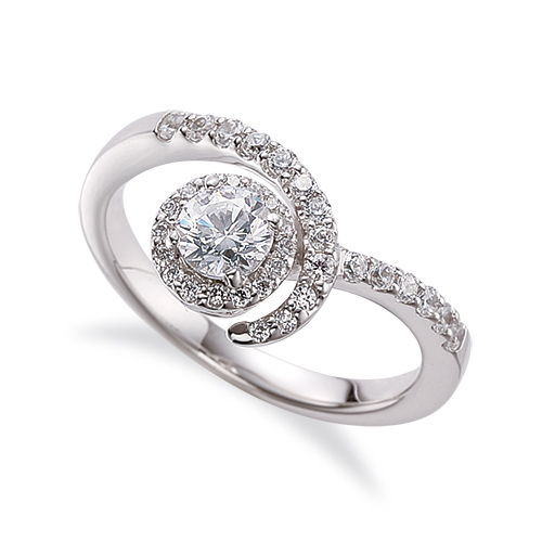 指輪 18金 ホワイトゴールド 天然石 メレがラインになった取り巻きリング 主石の直径約4.4mm V字 四本爪留め|K18WG 18k 貴金属 ジュエリー レディース メンズ