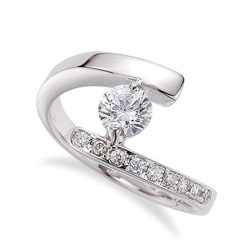 指輪 18金 ホワイトゴールド 天然石 サイドストーンリング 主石の直径約5.2mm 平打ち 二本爪留め K18WG 18k 貴金属 ジュエリー レディース メンズ