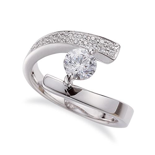 指輪 18金 ホワイトゴールド 天然石 サイドパヴェリング 主石の直径約4.4mm 平打ち 二本爪留め|K18WG 18k 貴金属 ジュエリー レディース メンズ