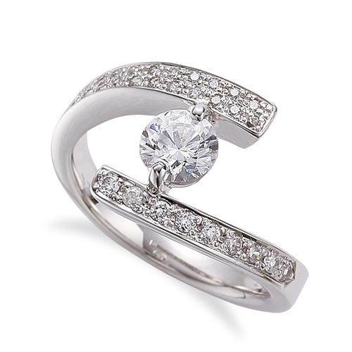 指輪 18金 ホワイトゴールド 天然石 サイドパヴェリング 主石の直径約4.4mm 二本爪留め|K18WG 18k 貴金属 ジュエリー レディース メンズ