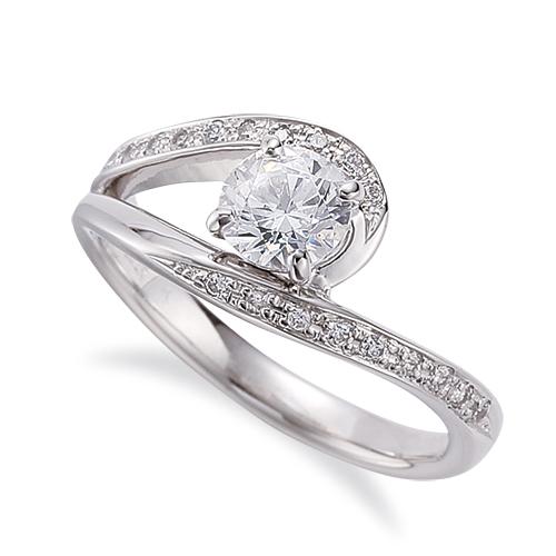 指輪 18金 ホワイトゴールド 天然石 メレがラインになったサイドストーンリング 主石の直径約4.4mm ウェーブ 割り腕 四本爪留め|K18WG 18k 貴金属 ジュエリー レディース メンズ
