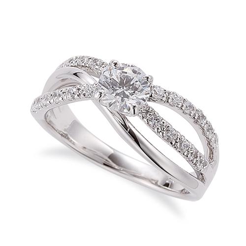 指輪 18金 ホワイトゴールド 天然石 クロスラインのサイド二文字リング 主石の直径約5.2mm ウェーブ 割り腕 四本爪留め|K18WG 18k 貴金属 ジュエリー レディース メンズ
