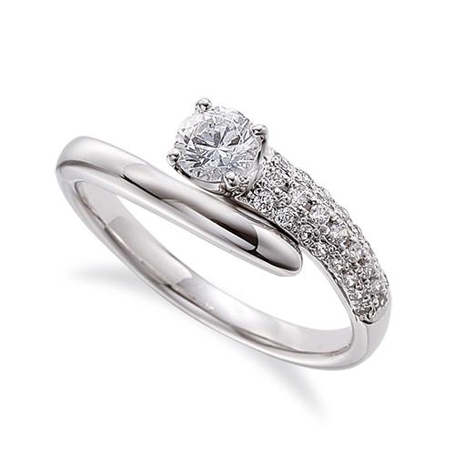 指輪 18金 ホワイトゴールド 天然石 サイドパヴェリング 主石の直径約4.4mm ウェーブ 四本爪留め|K18WG 18k 貴金属 ジュエリー レディース メンズ