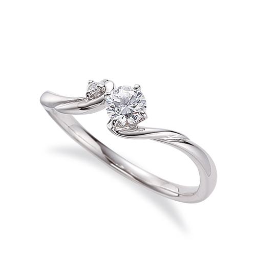 指輪 18金 ホワイトゴールド 天然石 サイドストーンリング 主石の直径約3.8mm ウェーブ 四本爪留め K18WG 18k 貴金属 ジュエリー レディース メンズ