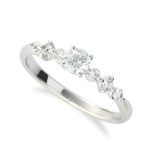 指輪 18金 ホワイトゴールド 天然石 サイドストーンリング 主石の直径約3.8mm 四本爪留め|K18WG 18k 貴金属 ジュエリー レディース メンズ