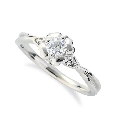 指輪 18金 ホワイトゴールド 天然石 花モチーフのサイドストーンリング 主石の直径約3.8mm 四本爪留め|K18WG 18k 貴金属 ジュエリー レディース メンズ