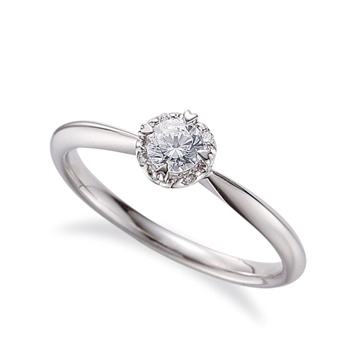 指輪 18金 ホワイトゴールド 天然石 取り巻きリング 主石の直径約4.4mm 四本爪留め|K18WG 18k 貴金属 ジュエリー レディース メンズ