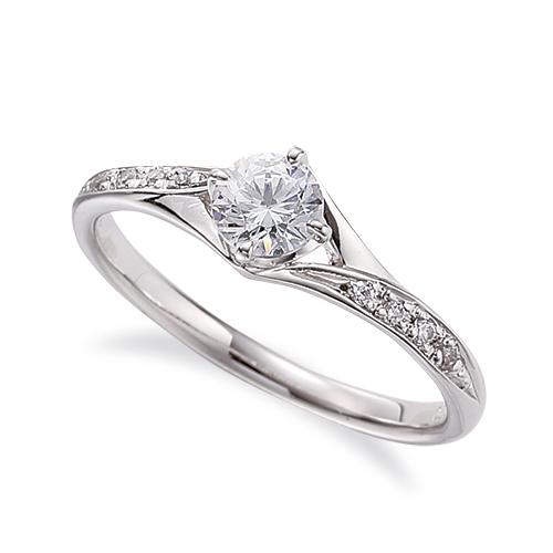 指輪 18金 ホワイトゴールド 天然石 サイドストーンリング 主石の直径約4.4mm 割り腕 四本爪留め K18WG 18k 貴金属 ジュエリー レディース メンズ