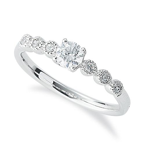 指輪 18金 ホワイトゴールド 天然石 メレ周りミル打ちのサイドストーンリング 主石の直径約3.8mm 四本爪留め|K18WG 18k 貴金属 ジュエリー レディース メンズ