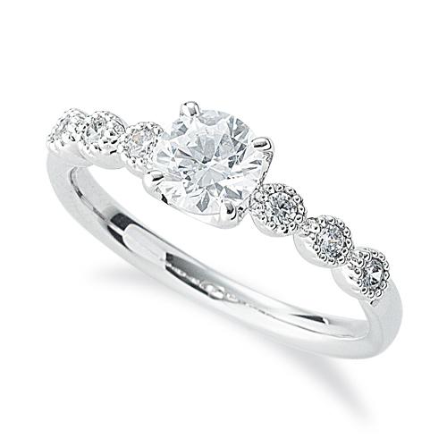 指輪 18金 ホワイトゴールド 天然石 メレ周りミル打ちのサイドストーンリング 主石の直径約5.2mm 四本爪留め K18WG 18k 貴金属 ジュエリー レディース メンズ