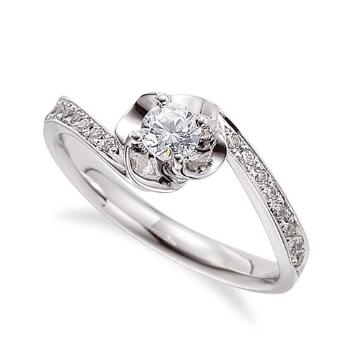 指輪 18金 ホワイトゴールド 天然石 花モチーフのサイドストーンリング 主石の直径約3.8mm ウェーブ 四本爪留め|K18WG 18k 貴金属 ジュエリー レディース メンズ