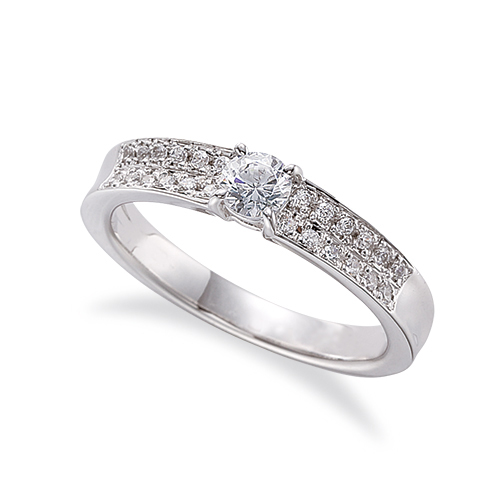 指輪 18金 ホワイトゴールド 天然石 サイドパヴェリング 主石の直径約3.8mm 四本爪留め|K18WG 18k 貴金属 ジュエリー レディース メンズ