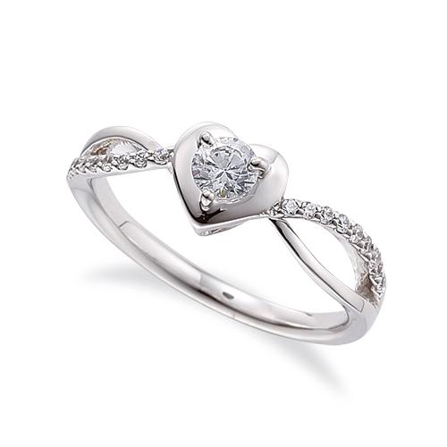 指輪 18金 ホワイトゴールド 天然石 ハートモチーフのサイドストーンリング 主石の直径約3.8mm ウェーブ 割り腕 三本爪留め|K18WG 18k 貴金属 ジュエリー レディース メンズ