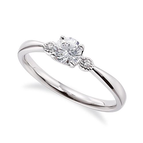 指輪 18金 ホワイトゴールド 天然石 メレ周りミル打ちのサイドストーンリング 主石の直径約4.4mm 四本爪留め|K18WG 18k 貴金属 ジュエリー レディース メンズ