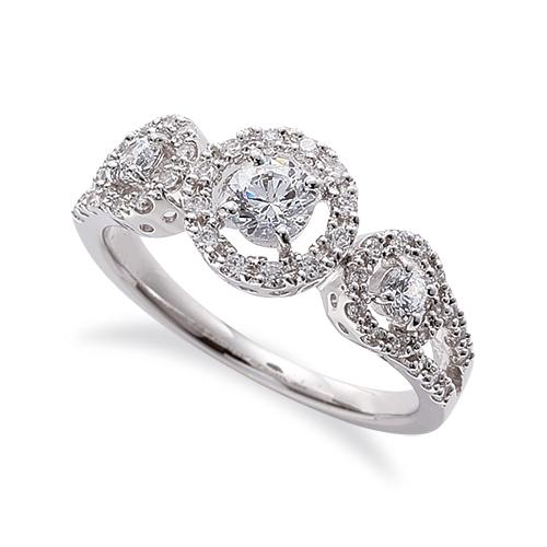 指輪 18金 ホワイトゴールド 天然石 メレが豪華な三つの取り巻きリング 主石の直径約4.1mm 割り腕 四本爪留め K18WG 18k 貴金属 ジュエリー レディース メンズ