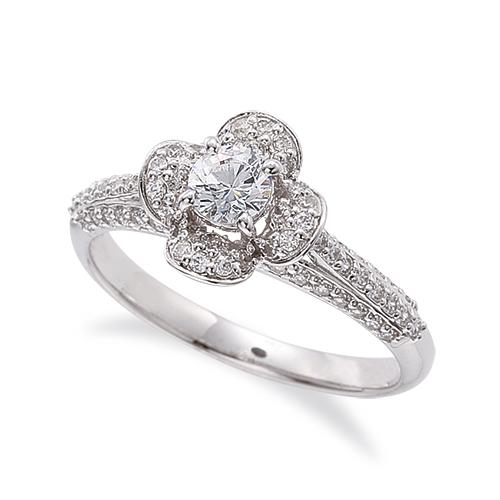 指輪 18金 ホワイトゴールド 天然石 花モチーフの取り巻きリング 主石の直径約4.1mm 四本爪留め|K18WG 18k 貴金属 ジュエリー レディース メンズ