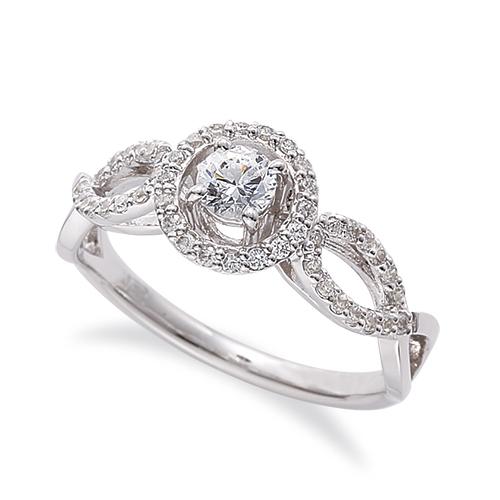 指輪 18金 ホワイトゴールド 天然石 メレがラインになった取り巻きリング 主石の直径約3.8mm 割り腕 四本爪留め|K18WG 18k 貴金属 ジュエリー レディース メンズ