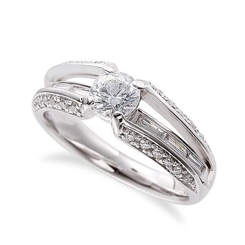 指輪 18金 ホワイトゴールド 天然石 テーパーメレラインのデザインリング 主石の直径約4.4mm 割り腕 四本爪留め|K18WG 18k 貴金属 ジュエリー レディース メンズ