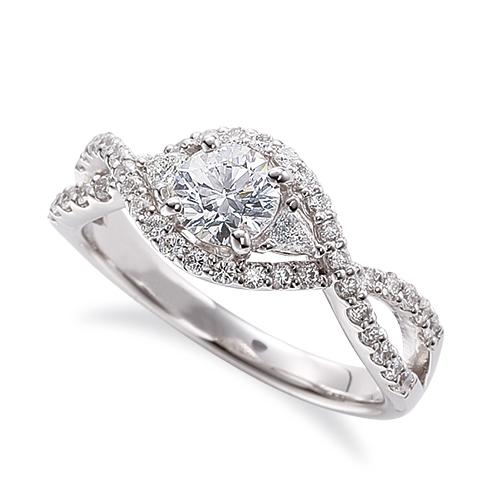 指輪 18金 ホワイトゴールド 天然石 サイドにファンシーシェイプ付きの取り巻きリング 主石の直径約4.4mm 割り腕 四本爪留め|K18WG 18k 貴金属 ジュエリー レディース メンズ