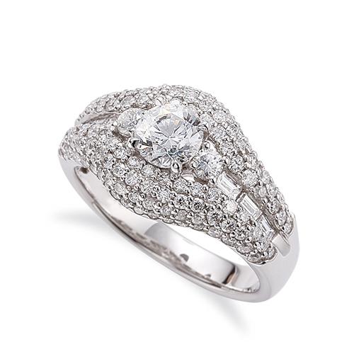 指輪 18金 ホワイトゴールド 天然石 バゲットメレがサイド一文字の取り巻きリング 主石の直径約5.2mm 四本爪留め|K18WG 18k 貴金属 ジュエリー レディース メンズ