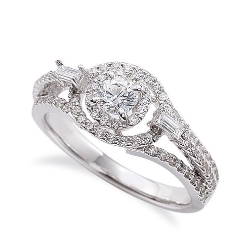 指輪 18金 ホワイトゴールド 天然石 テーパーメレがポイントの取り巻きリング 主石の直径約3.8mm 割り腕 四本爪留め|K18WG 18k 貴金属 ジュエリー レディース メンズ
