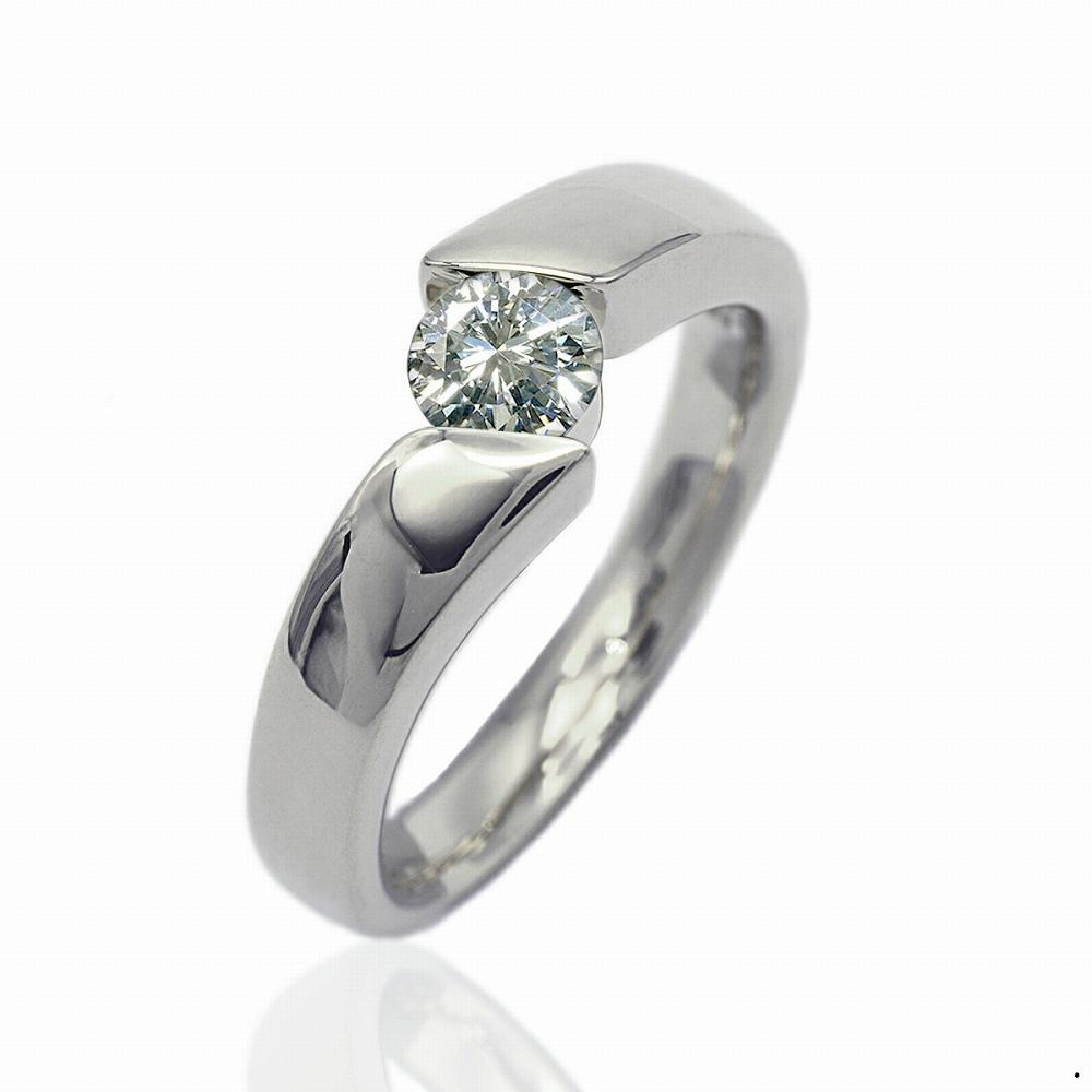 指輪 18金 ホワイトゴールド 天然石 一粒リング 主石の直径約5.2mm ソリティア 平打ち K18WG 18k 貴金属 ジュエリー レディース メンズ
