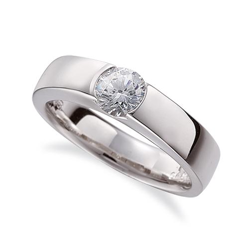 指輪 18金 ホワイトゴールド 天然石 一粒リング 主石の直径約3.8mm ソリティア 平打ち レール留め|K18WG 18k 貴金属 ジュエリー レディース メンズ