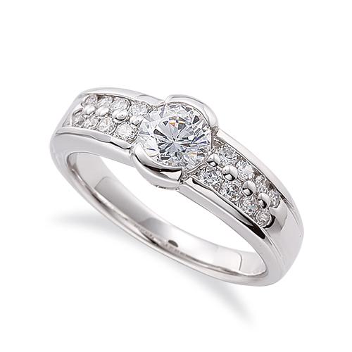 指輪 18金 ホワイトゴールド 天然石 サイドパヴェリング 主石の直径約4.4mm レール留め|K18WG 18k 貴金属 ジュエリー レディース メンズ