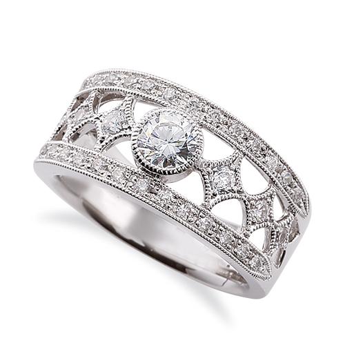 指輪 18金 ホワイトゴールド 天然石 ミル打ちと透かしのサイドストーンリング 主石の直径約3.8mm レール留め|K18WG 18k 貴金属 ジュエリー レディース メンズ
