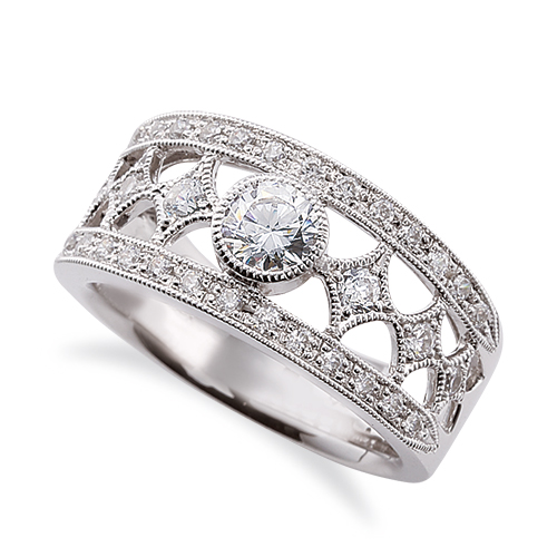 指輪 18金 ホワイトゴールド 天然石 ミル打ちと透かしのサイドストーンリング 主石の直径約5.2mm レール留め|K18WG 18k 貴金属 ジュエリー レディース メンズ