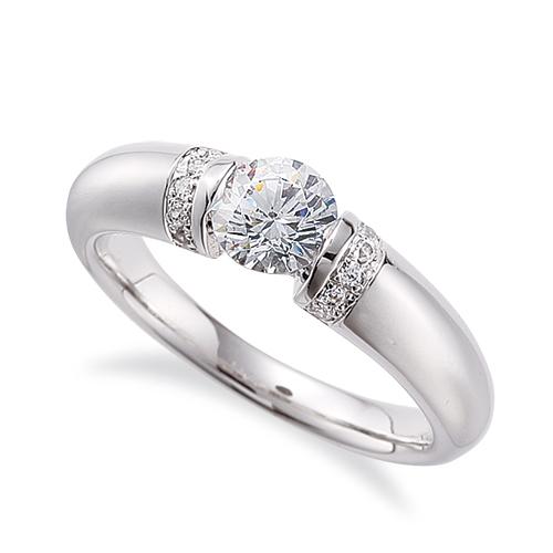 指輪 18金 ホワイトゴールド 天然石 サイドストーンリング 主石の直径約3.8mm レール留め|K18WG 18k 貴金属 ジュエリー レディース メンズ