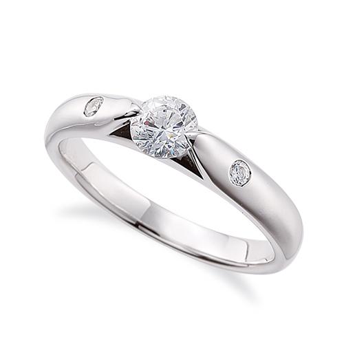 指輪 18金 ホワイトゴールド 天然石 サイドストーンリング 主石の直径約4.4mm 二本爪留め K18WG 18k 貴金属 ジュエリー レディース メンズ