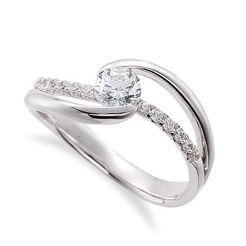 指輪 18金 ホワイトゴールド 天然石 メレがラインになったサイドストーンリング 主石の直径約4.4mm ウェーブ 割り腕 レール留め K18WG 18k 貴金属 ジュエリー レディース メンズ