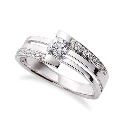 指輪 18金 ホワイトゴールド 天然石 メレがラインになったサイドストーンリング 主石の直径約4.4mm 割り腕 レール留め K18WG 18k 貴金属 ジュエリー レディース メンズ