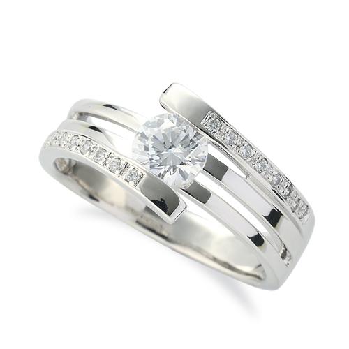 指輪 18金 ホワイトゴールド 天然石 メレがラインになったサイドストーンリング 主石の直径約5.2mm 割り腕 レール留め|K18WG 18k 貴金属 ジュエリー レディース メンズ