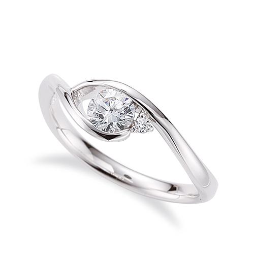 指輪 18金 ホワイトゴールド 天然石 サイドストーンリング 主石の直径約4.4mm ウェーブ|K18WG 18k 貴金属 ジュエリー レディース メンズ