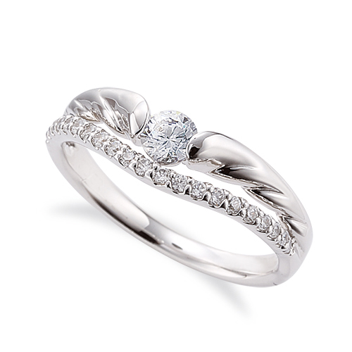 指輪 18金 ホワイトゴールド 天然石 メレがラインになったサイドストーンリング 主石の直径約3.8mm V字 割り腕|K18WG 18k 貴金属 ジュエリー レディース メンズ