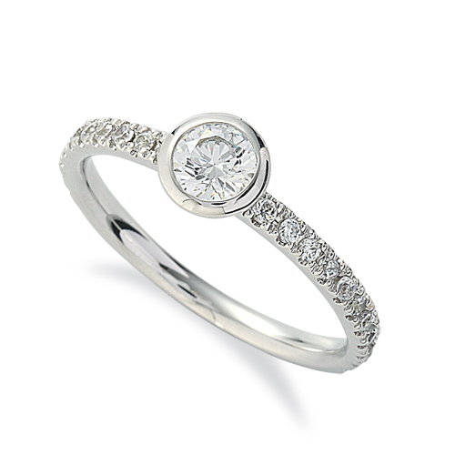 指輪 18金 ホワイトゴールド 天然石 サイド一文字リング 主石の直径約4.4mm|K18WG 18k 貴金属 ジュエリー レディース メンズ