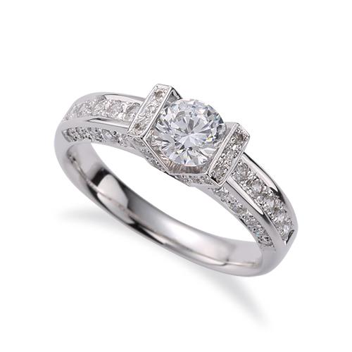 指輪 18金 ホワイトゴールド 天然石 三面メレの豪華なサイドストーンリング 主石の直径約5.2mm|K18WG 18k 貴金属 ジュエリー レディース メンズ