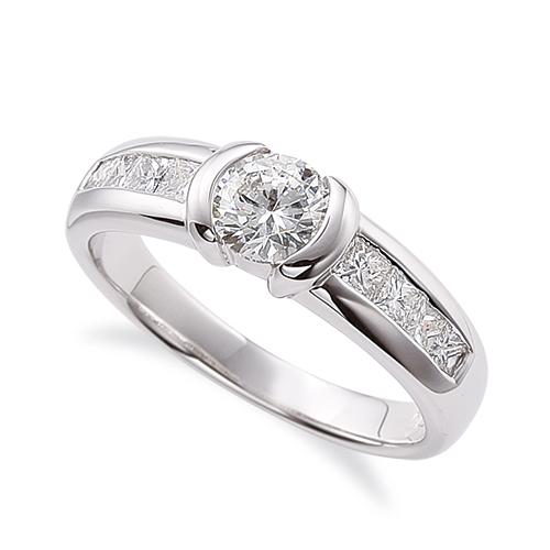 指輪 18金 ホワイトゴールド 天然石 バゲットメレのサイド一文字リング 主石の直径約5.2mm K18WG 18k 貴金属 ジュエリー レディース メンズ